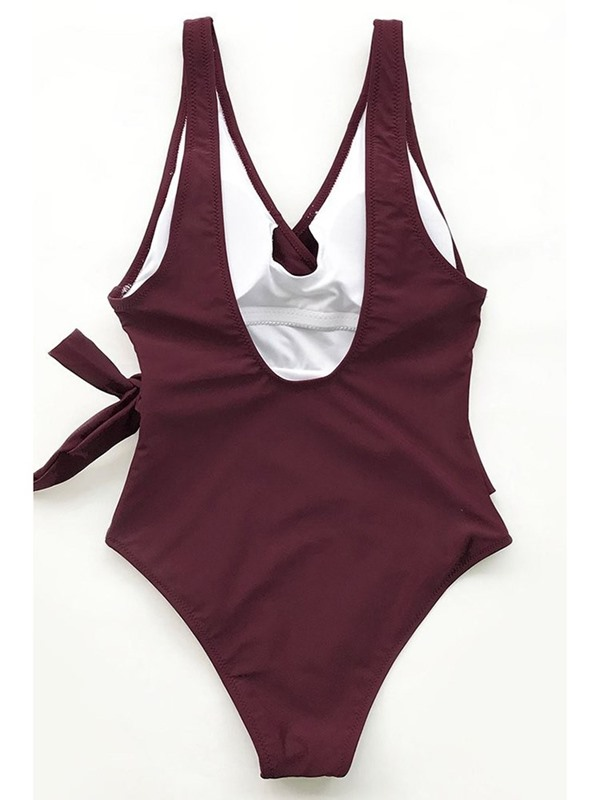 Bowknot One Piece Plain One Piece Swimwear