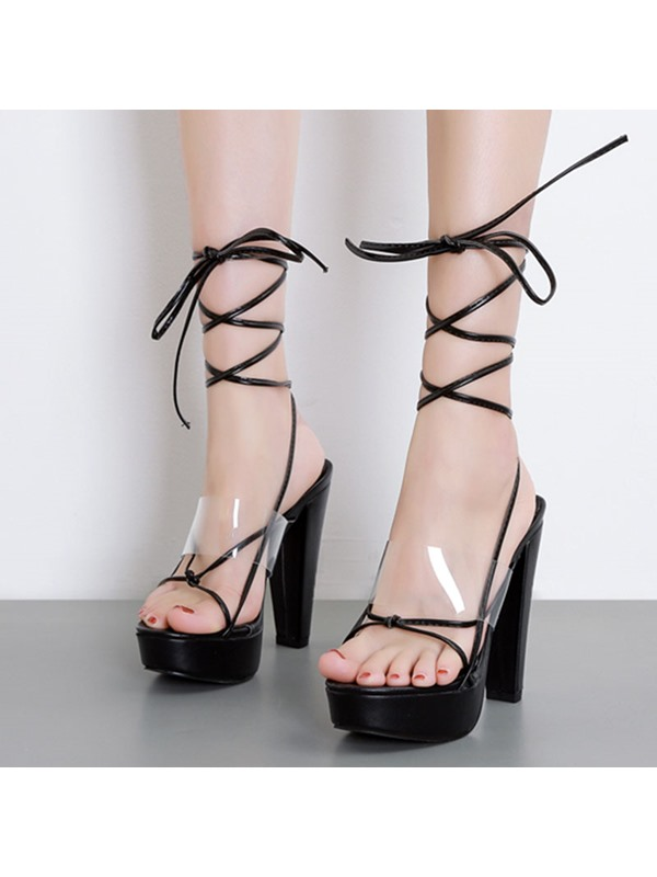 Open Toe Chunky Heel Lace-Up Sexy Sandals