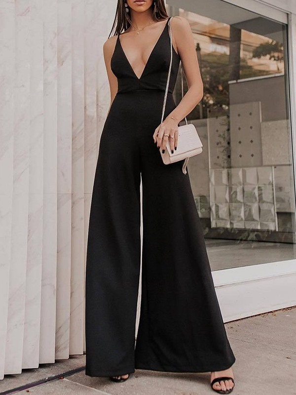 Party/Cocktail Strap Plain Loose High Waist Women's Jumpsuit