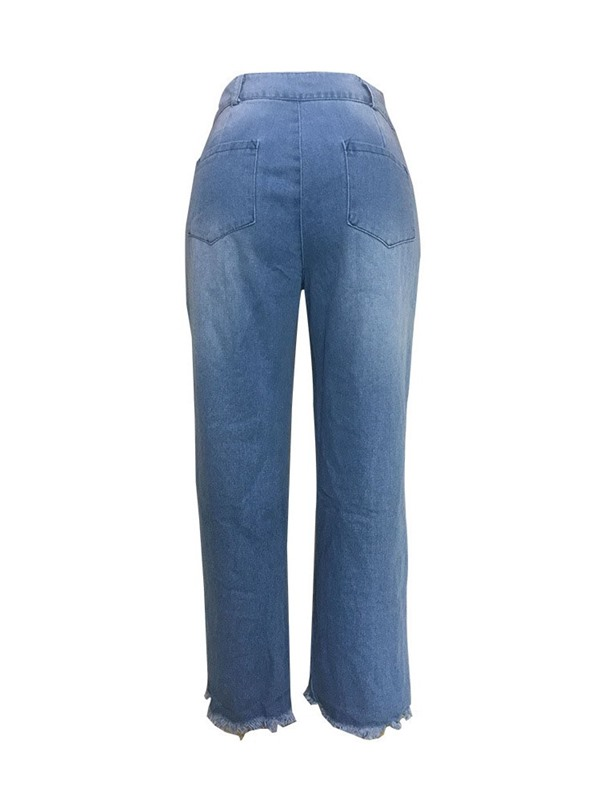 Washable Straight Plain Mid Waist Loose Women's Jeans