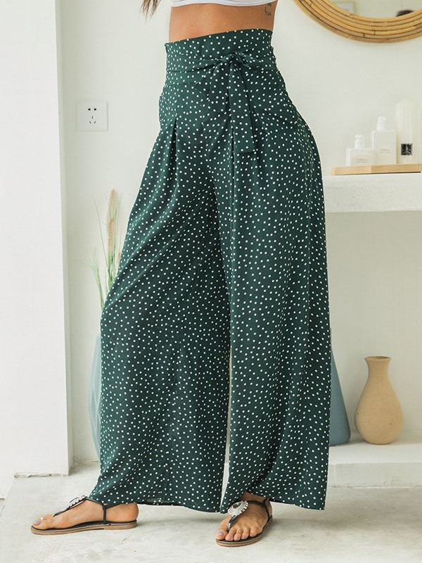 Loose Lace-Up Polka Dots Wide Legs Full Length Women's Casual Pants