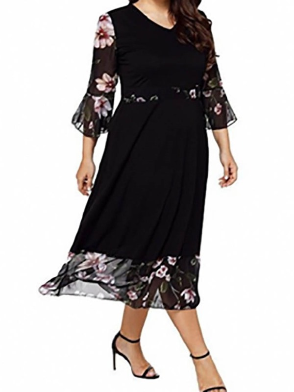 Plus Size Three-Quarter Sleeve V-Neck Mid-Calf Floral Women's Dress