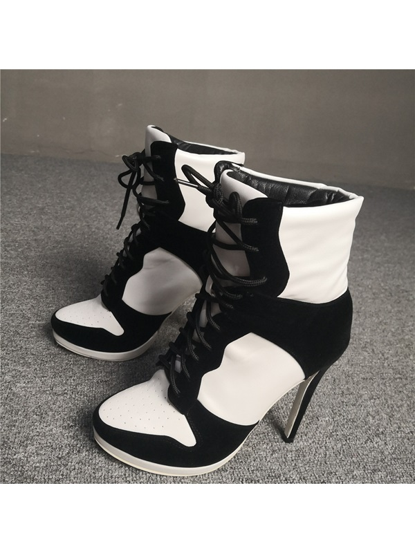 Round Toe Lace-Up Front Color Block Women's Boots