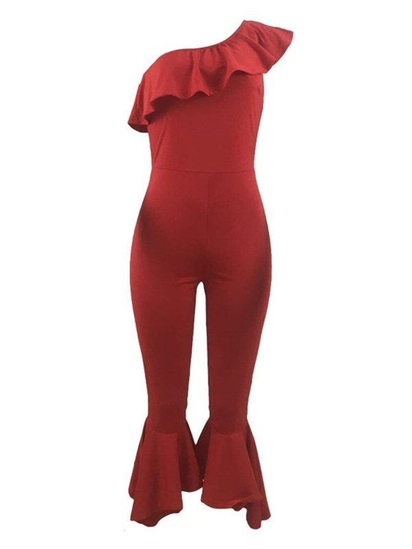 Asymmetric Ankle Length Fashion Slim Mid Waist Women's Jumpsuit