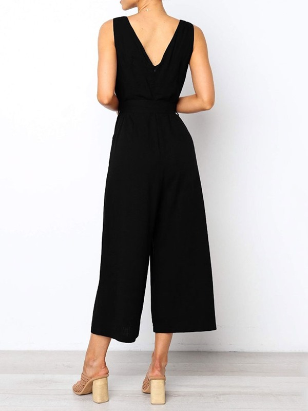 Backless Plain Mid-Calf High Waist Loose Women's Jumpsuit