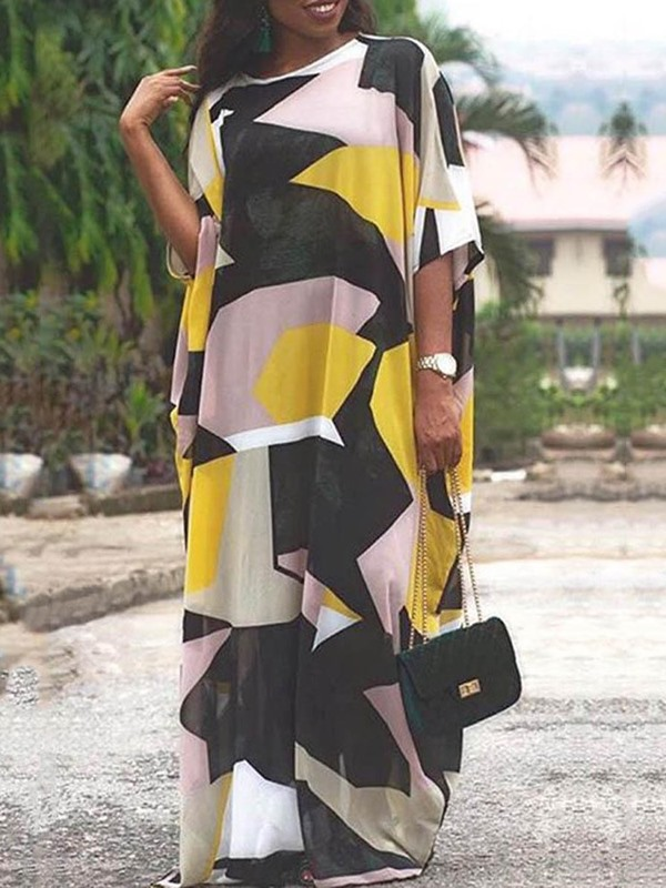 Print 3/4 Sleeve Color Block Expansion Women's Casual Dress