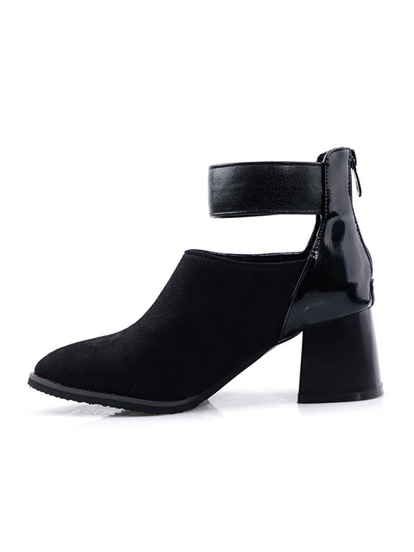 Back Zip Chunky Heel Patchwork Women's Ankle Boots