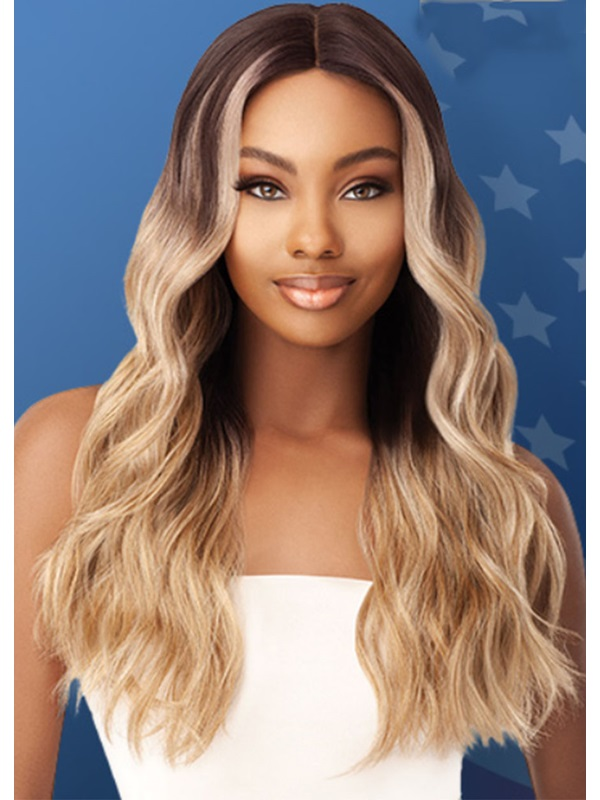 Women's Long Length Ombre Blonde Color Body Wave Synthetic Hair Wigs Rose Capless Wigs 26inches
