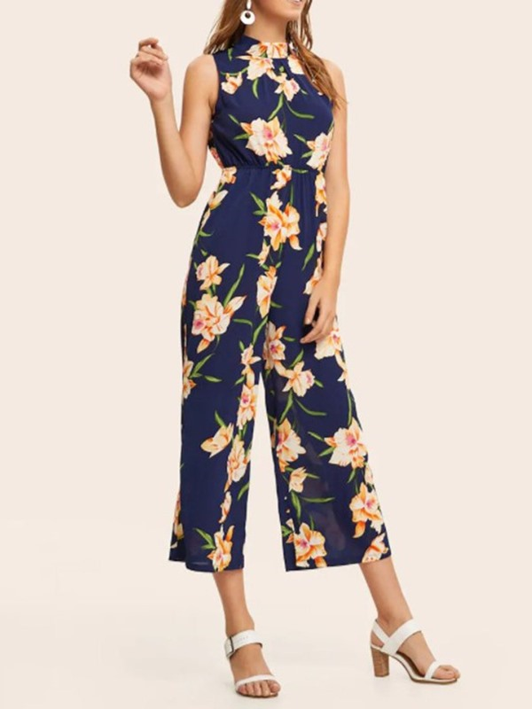 Floral Mid-Calf Travel Look Wide Legs Loose Women's Jumpsuit