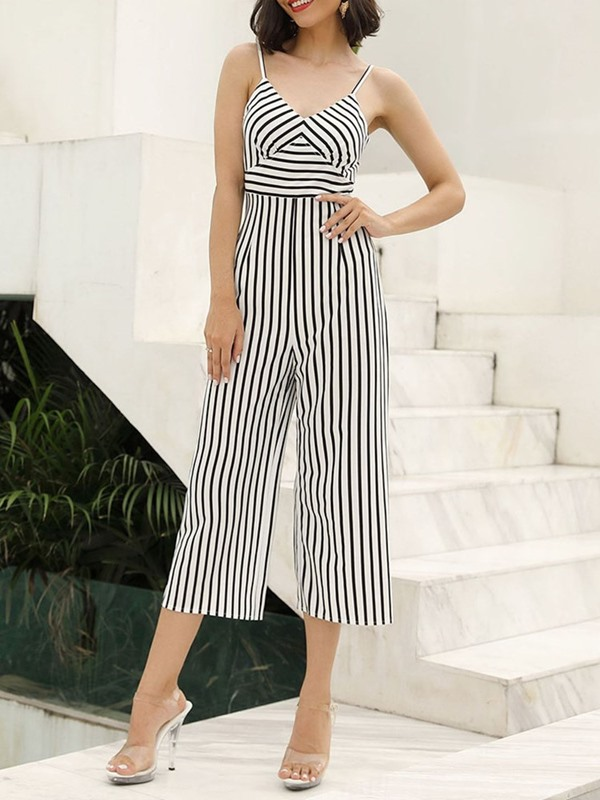 Fashion Mid-Calf Strap High Waist Wide Legs Women's Jumpsuit