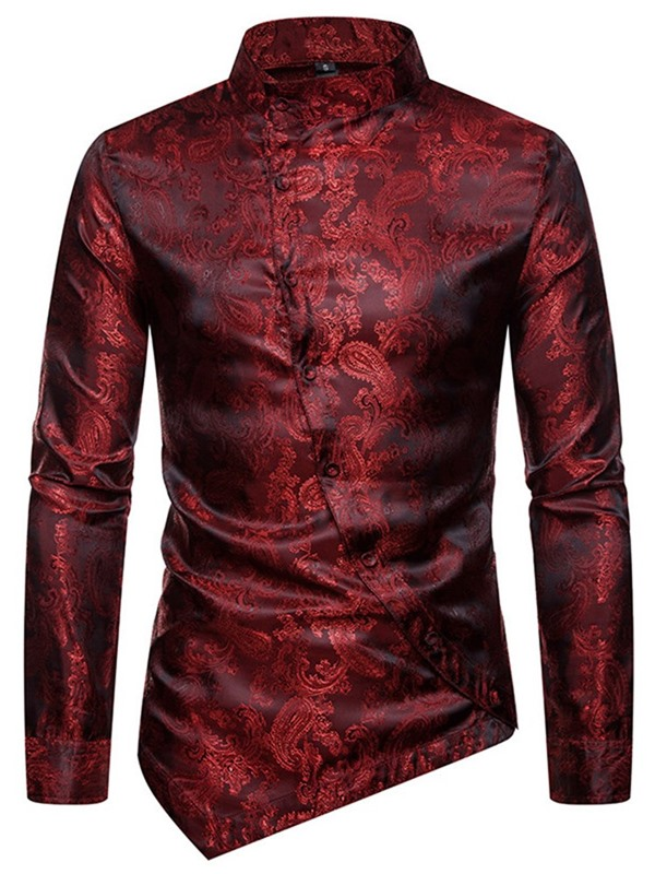 Stand Collar Floral Fashion Button Men's Shirt