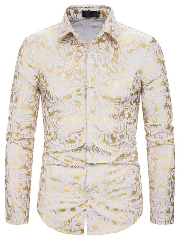 Fashion Color Block Floral Print Lapel Slim Men's Shirt