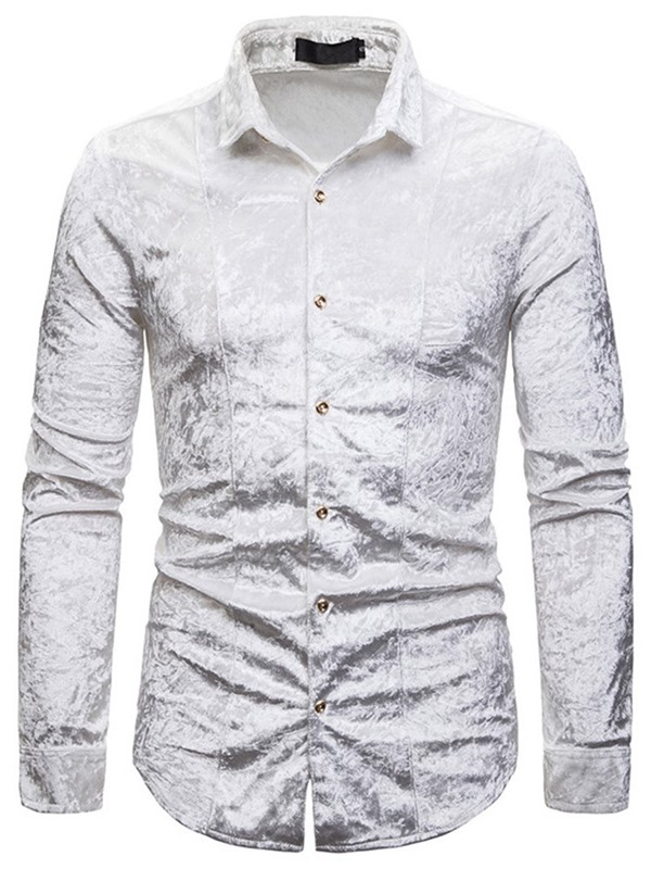 Button Fashion Plain Lapel Men's Shirt