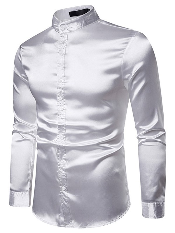 Plain Stand Collar Single-Breasted Men's Shirt
