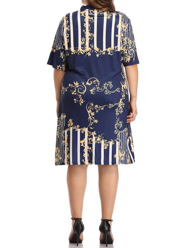 Plus Size Half Sleeve Knee-Length V-Neck Women's A-Line Dress
