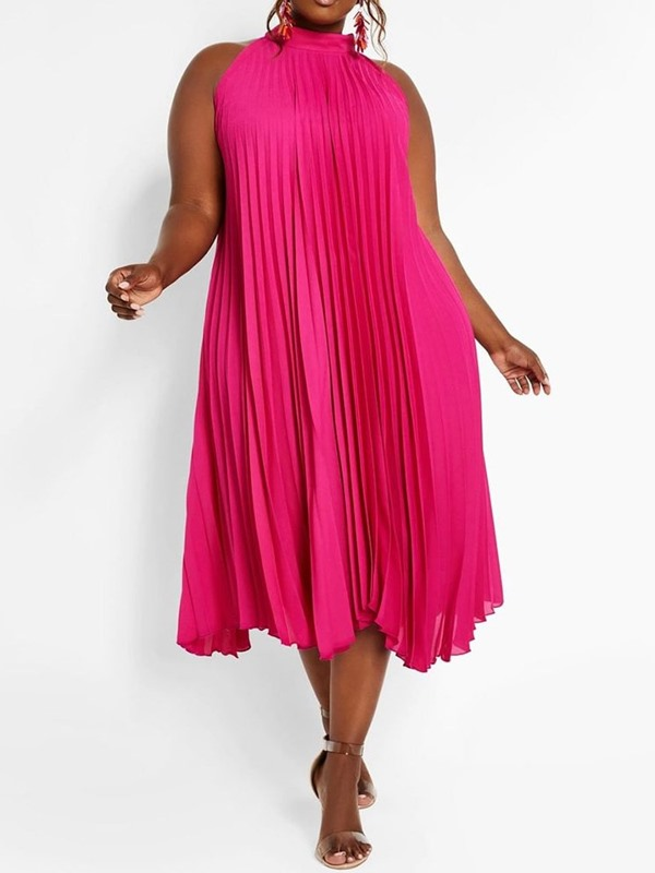 Plus Size Sleeveless Mid-Calf Stand Collar Pullover Women's Pleated Dress