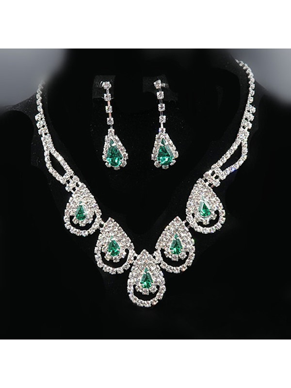 Water Drop Korean Necklace Jewelry Sets (Wedding)