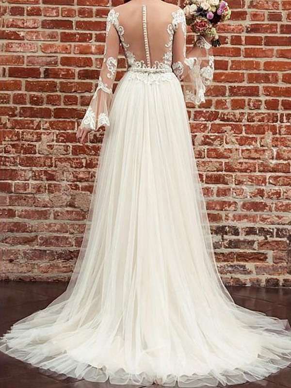Beading Sheer Neck Appliques Long Sleeves Wedding Dress 2019