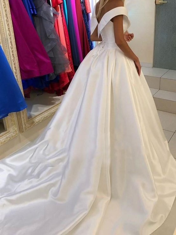 V-Neck Cap Sleeves Court Floor-Length Church Wedding Dress 2019