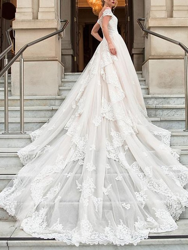 Cathedral Appliques Cap Sleeves Floor-Length Hall Wedding Dress 2019