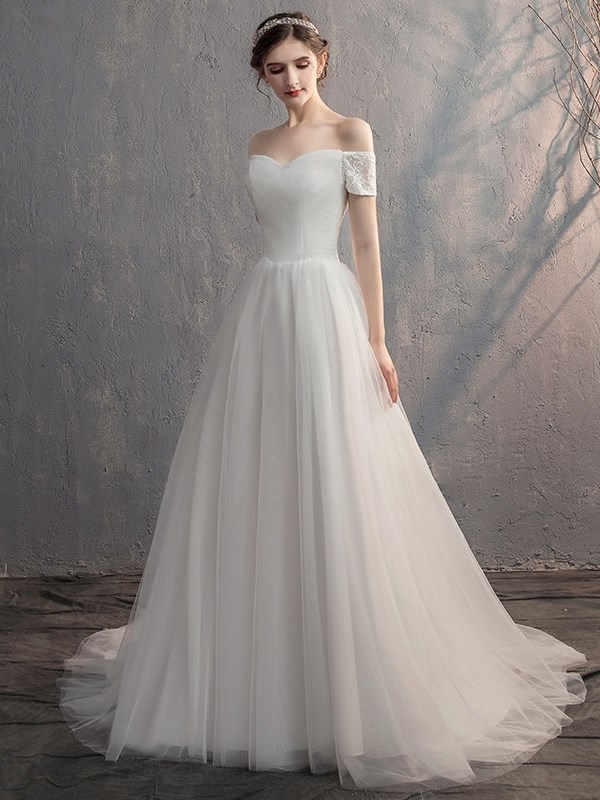Off-The-Shoulder Floor-Length Lace A-Line Hall Wedding Dress 2019