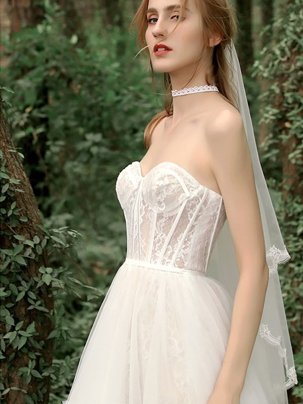 Lace Asymmetry Sweetheart A-Line Beach Wedding Dress 2019