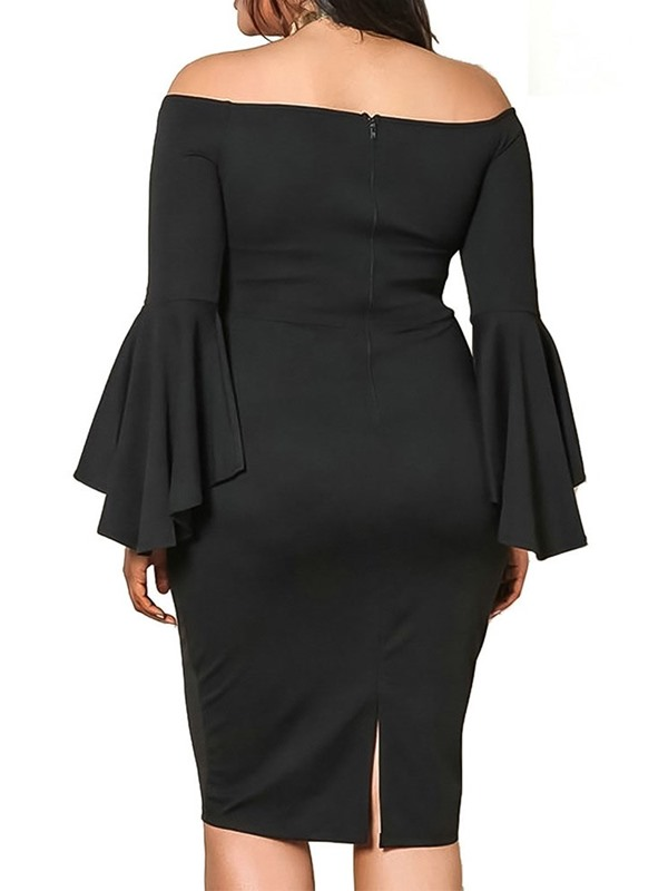 Plus Size Knee-Length Off Shoulder Long Sleeve Flare Women's Bodycon Dress