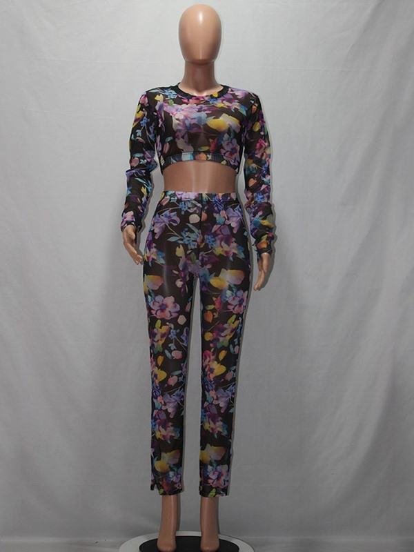 Floral Print Fashion Round Neck Pullover Women's Two Piece Sets