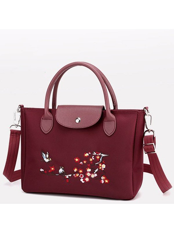 Floral Thread PU Embroidery Rectangle Tote Bag