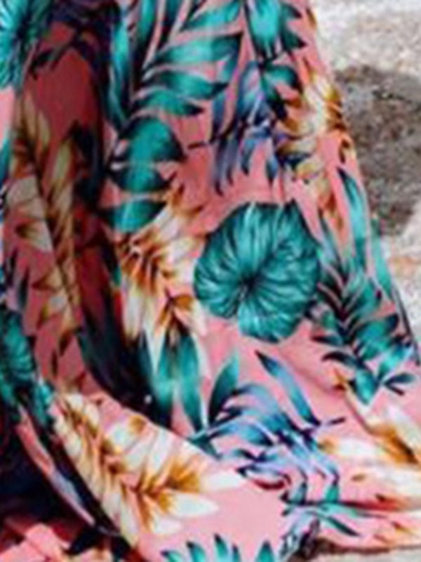 Print Floor-Length Ruffle Sleeve Expansion Women's Maxi Dress