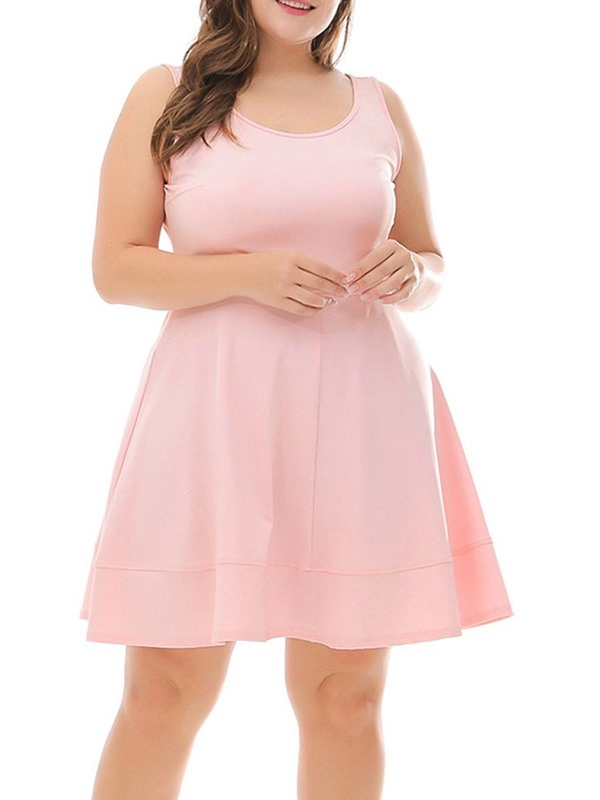 Plus Size Above Knee Sleeveless Pullover Women's Casual Dress