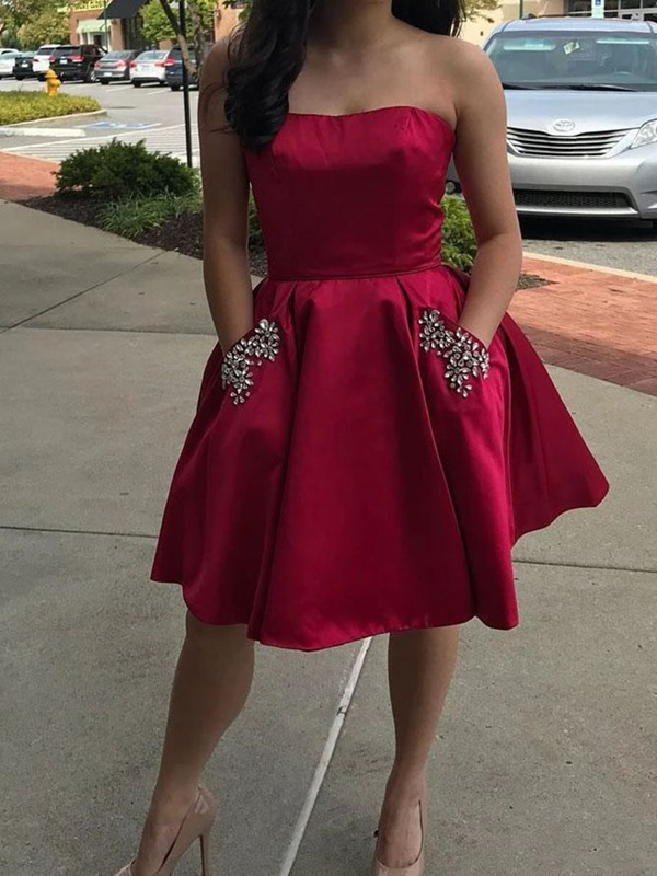 Short Strapless Beading A-Line Homecoming Dress 2019