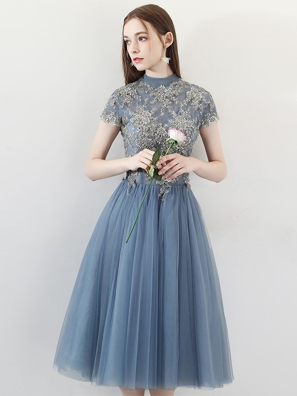 A-Line Short Sleeves High Neck Tea-Length Homecoming Dress 2019