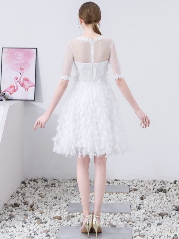 Lace Half Sleeves Short A-Line Homecoming Dress 2019