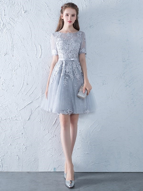 Short Bowknot A-Line Short Sleeves Homecoming Dress 2019