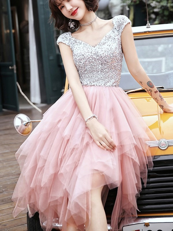 Sequins Asymmetry V-Neck Cap Sleeves Homecoming Dress 2019