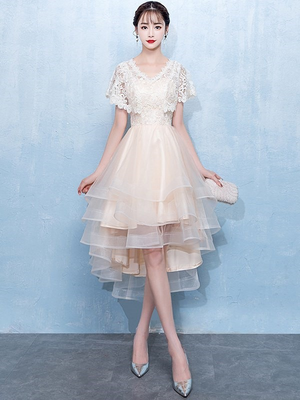 V-Neck Asymmetry Short Sleeves Lace Homecoming Dress 2019