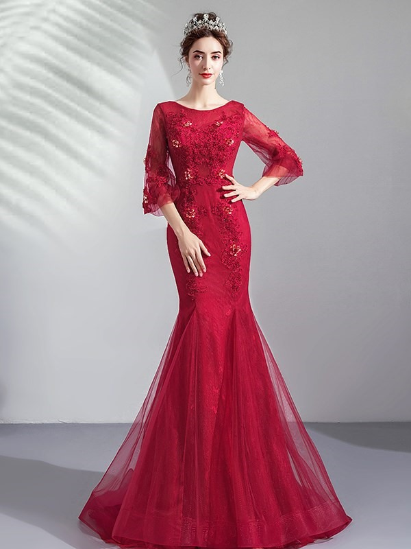 Trumpet Lace 3/4 Length Sleeves Scoop Evening Dress 2019