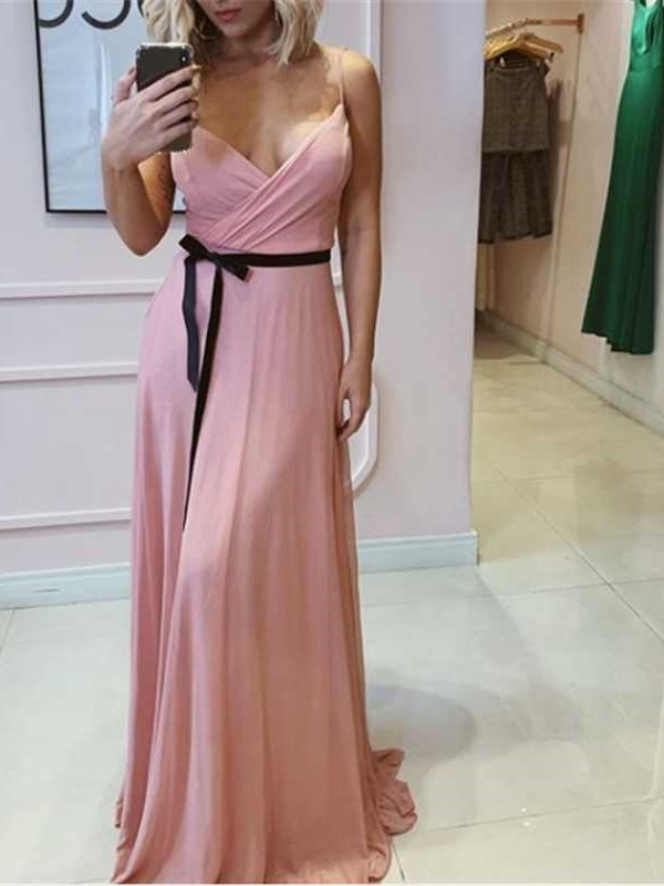 Sleeveless Spaghetti Straps Floor-Length Sheath Prom Dress 2019