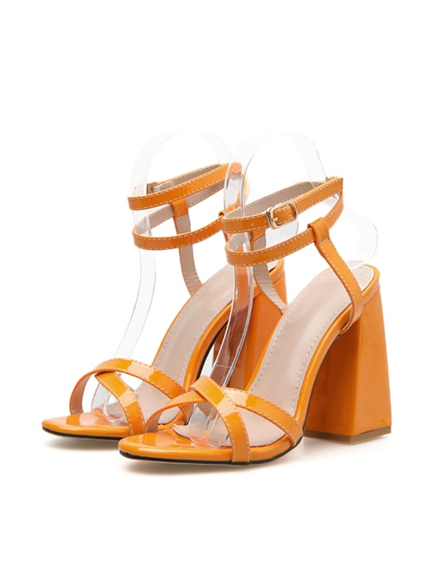 Neon Ankle Strap Chunky Heel Buckle Women's Sandals