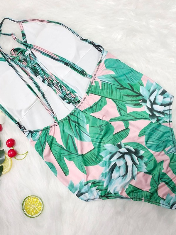 Plus Size Floral One Piece Sexy Lace-Up Swimwear