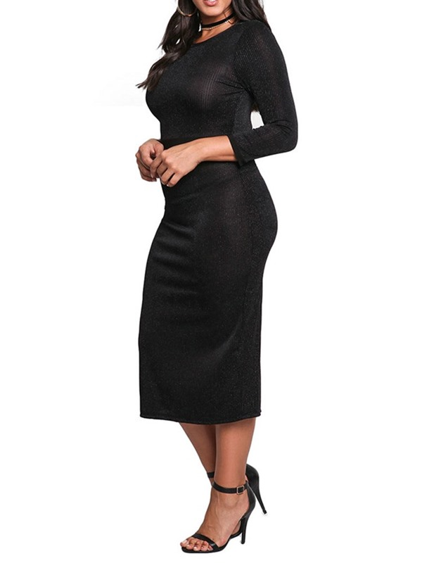 Plus Size Mid-Calf 3/4 Sleeve Round Neck Women's Bodycon Dress