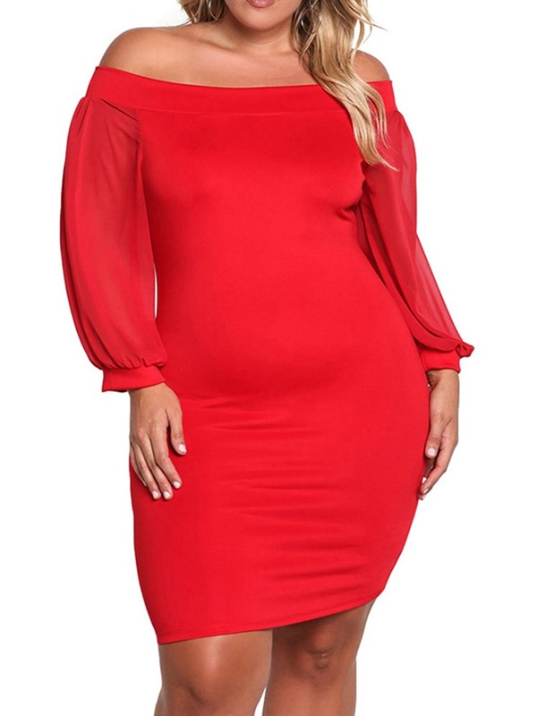 Plus Size Off Shoulder See-Through Long Sleeve Women's Bodycon Dress
