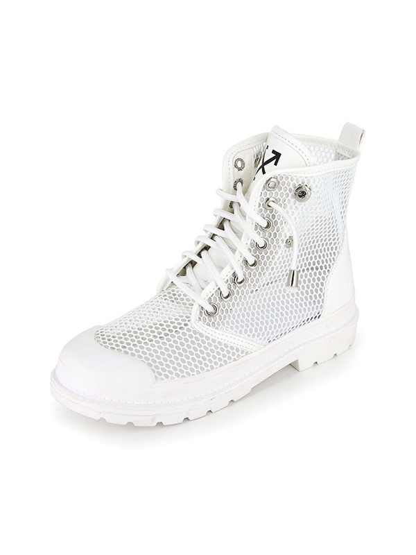 Lace-Up Front Plain Round Toe Mesh Ankle Boots