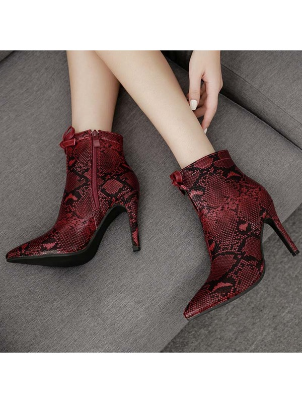 Pointed Toe Side Zipper Serpentine Women's Ankle Boots
