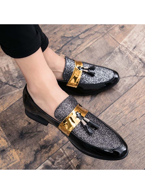 Color Block Slip-On Pointed Toe Men's Prom Shoes