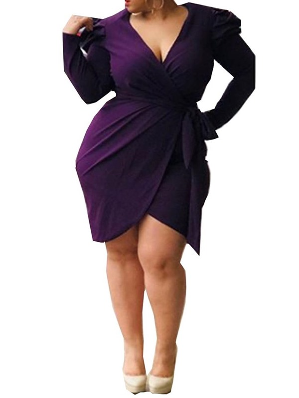 Plus Size Asymmetric Above Knee Long Sleeve Plain Women's Bodycon Dress