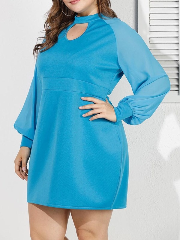Plus Size Long Sleeve Stand Collar Above Knee Plain Women's A-Line Dress