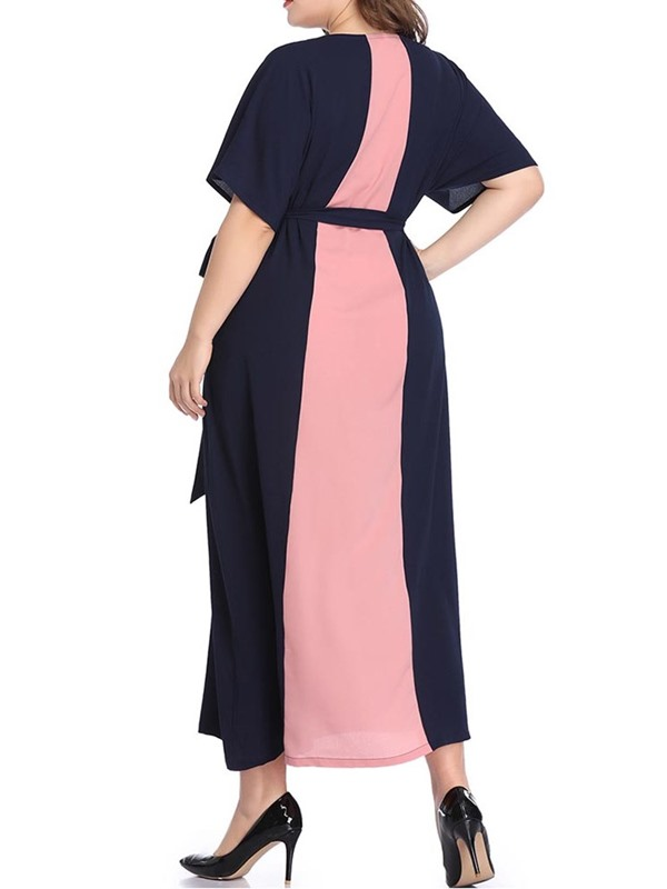 Plus Size  Round Neck Short Sleeve Women's Maxi Dress