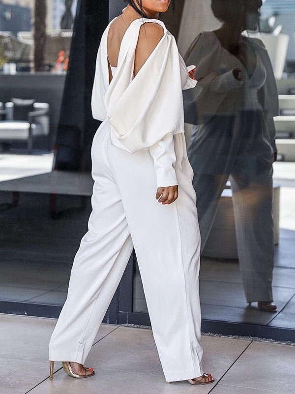 Full Length Fashion Backless Loose High Waist Women's Jumpsuit